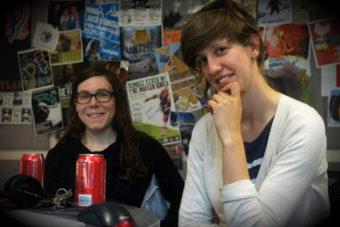 Anna & Elizabeth getting folky in the KXLL studio. (Photo by Annie Bartholomew/KTOO)