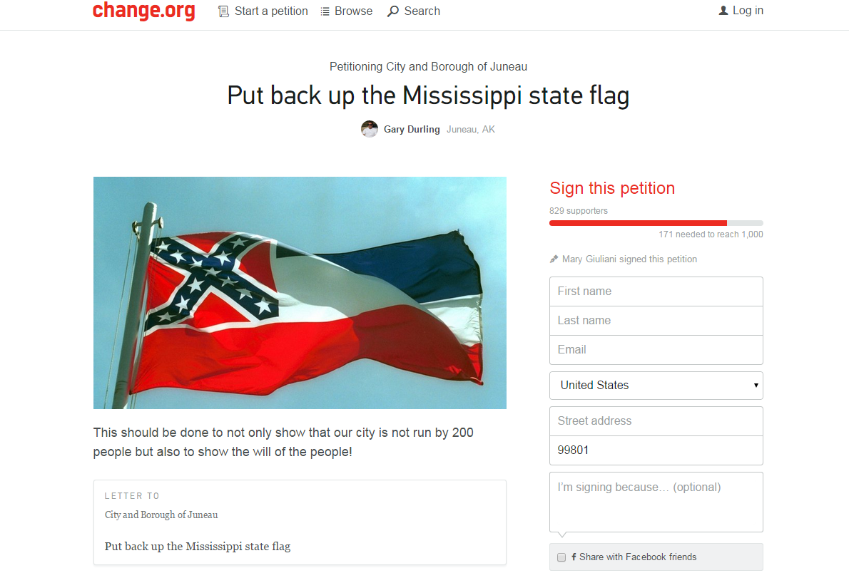 Screenshot of the online petition to put the Mississippi flag back up in downtown Juneau.