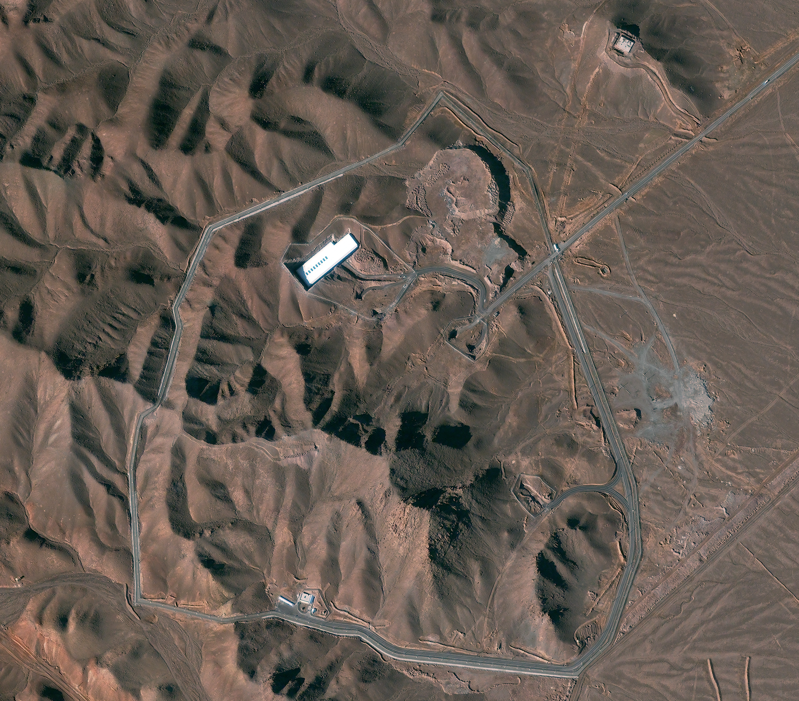 A satellite image shows the Fordow facility in Iran. Under an agreement with six world powers, Iran would stop enriching uranium at the facility. DigitalGlobe/Getty Images