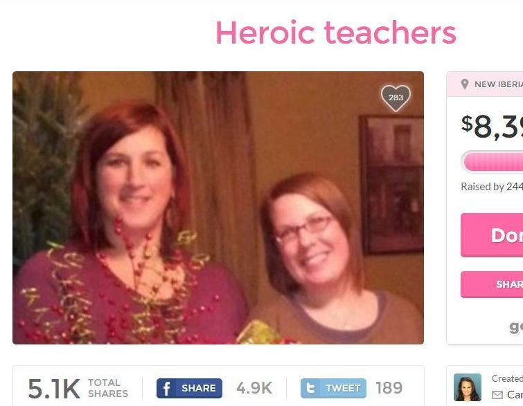 A screenshot of a fundraising page for teachers Jena Meaux and Ali Martin, who are being hailed as heroes for their actions in Thursday's theater attack. NPR