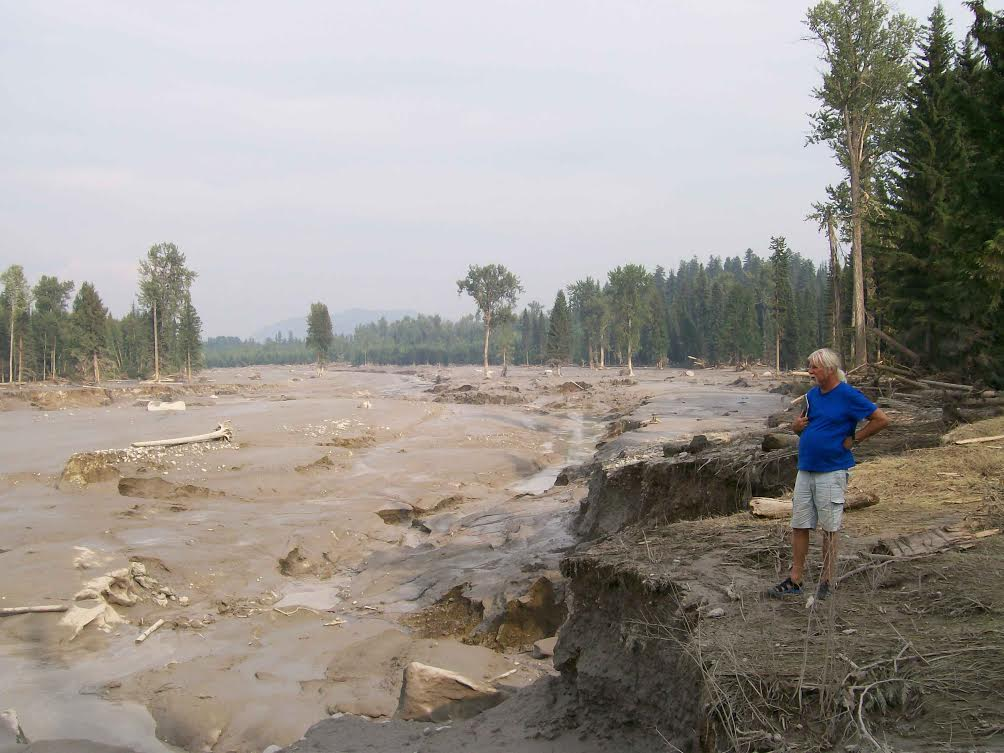 Hazeltine Creek, once a narrow waterway, is filled with mud, silt and logs following August 2014's tailings dam breach at the nearby Mount Polley Mine. (Photo courtesy Chris Blake/MineWatch Canada)