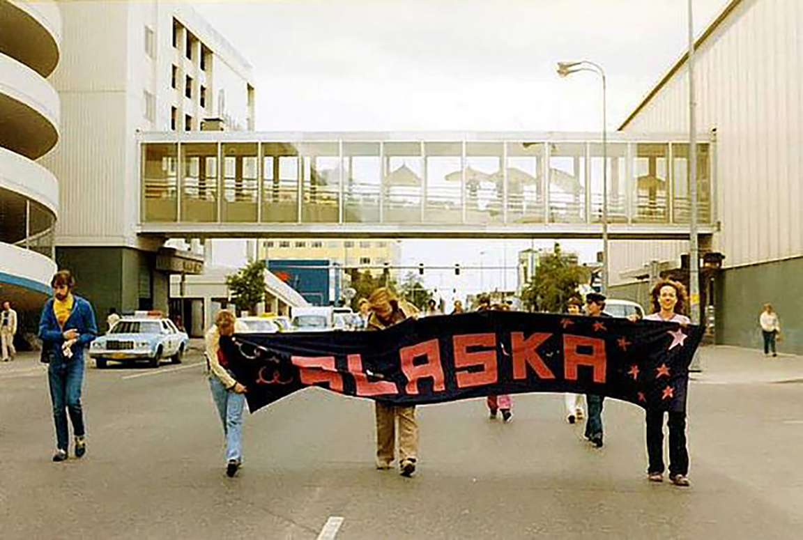 In 1983, approximately 20 people marched for Alaska Pride in Anchorage on 6th Ave. Activists Melissa Green, Jay Brause and Gene Dugan were among the group. (Photo courtesy of Melissa Green)