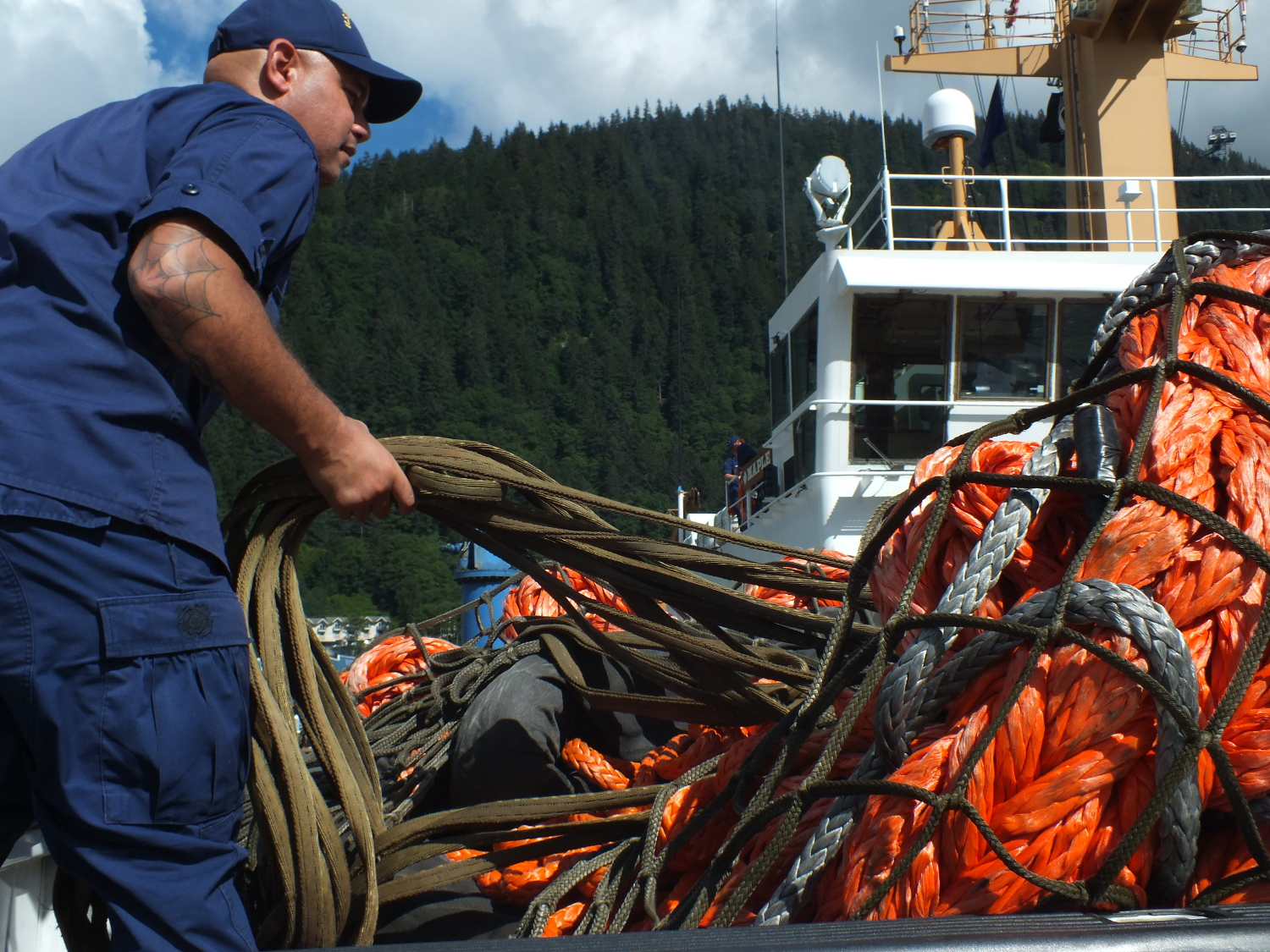 After use, the components of this Emergency Towing System will be dried out and repackaged for redeployment in Sitka. (Photo by Matt Miller/KTOO)