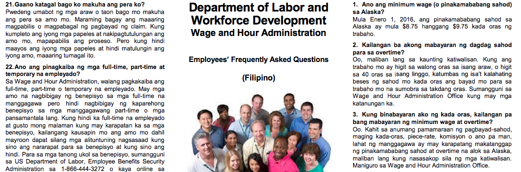 """The state Department of Labor and Workforce Development's 'Employees' Frequently Asked Questions"""" pamphlet in Tagalog."""