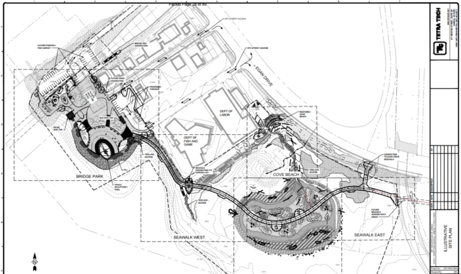 Site plans for the Bridge Park from the Juneau Planning Commission agenda.