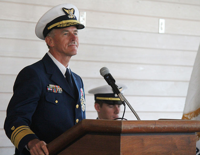 Vice Adm. Paul Zukunft, Pacific Area Commander, traveled to Kodiak in 2013 to speak at the change of command ceremony for the Coast Guard cutter Alex Haley. (Creative Commons photo by Nicole Klauss)
