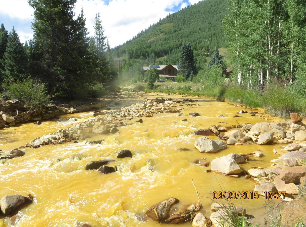 As it monitored the wastewater blowout that began Wednesday, the EPA took this photo of a sampling point near the source outside Silverton, Colo., on Sunday. EPA