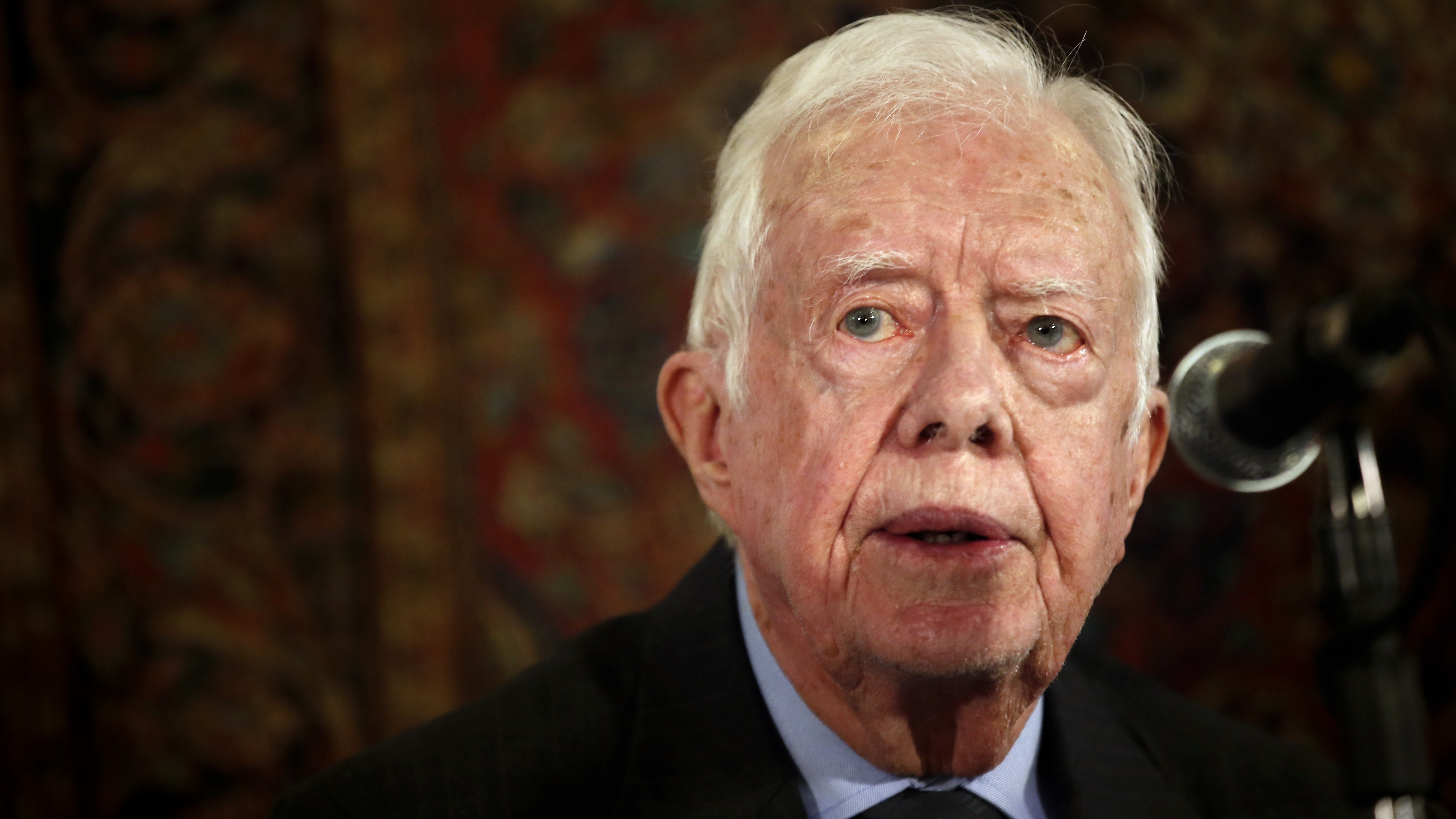 Former President Jimmy Carter speaks at a press conference in Jerusalem on May 2. Carter announced Wednesday that he has cancer. Thomas Coex/AFP/Getty Images