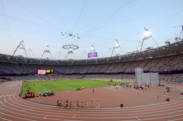 The track at Olympic Stadium during the London 2012 Olympic Games. Popperfoto/Popperfoto/Getty Images