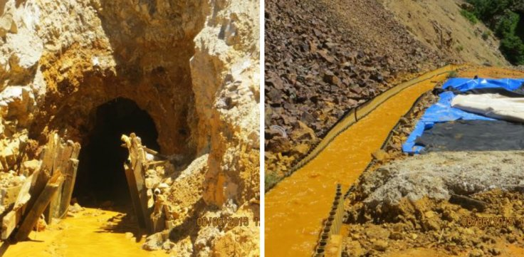 These images provided by the Environmental Protection Agency show the mouth of the Gold King Mine tunnel, at left, and the channeled runoff on the mine dump. (Images courtesy EPA via Colorado Public Radio)