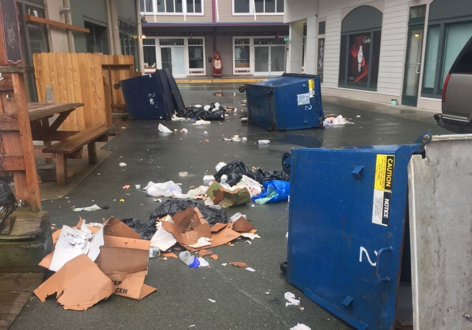 Overturned dumpsters in the alleyway between Tracy's King Crab Shack and Diamonds International on Sunday morning. (Photo by Heather Holt)