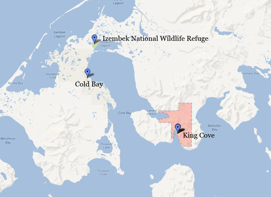 King Cove road, Izembek National Wildlife Refuge, Cold Bay map