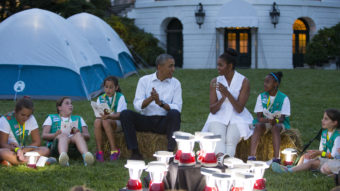 President Obama and Michelle Obama went a little Troop Beverly Hills at a Girl Scout campout on the South Lawn earlier this summer. We doubt survivalist Bear Grylls is going allow the president to bring those lanterns on their trek. Evan Vucci/AP