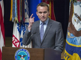 Eric Fanning, then the acting secretary of the U.S. Air Force, delivers remarks during a 2013 ceremony at the Pentagon. Fanning has held numerous military posts in the Obama administration. Paul J. Richards/AFP/Getty Images