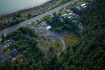 An aerial view of the junkyard site four miles south of downtown Wrangell. (Photo courtesy of Alaska Department of Environmental Conservation)