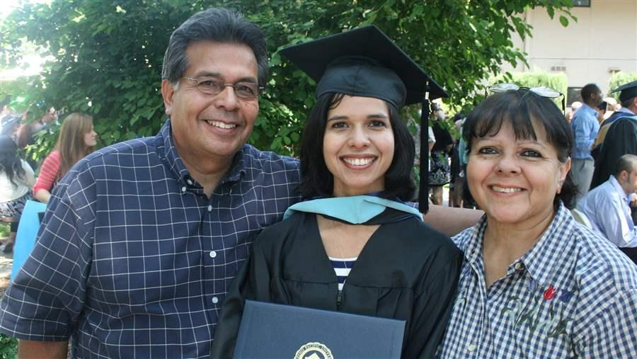 In 2014, Aileen Rizo, depicted here with her parents, Paul and Lupe Rizo, sued her employer for wage discrimination after she says she found out her male colleagues were paid much more. States are addressing the wage gap between men and women.In 2014, Aileen Rizo, depicted here with her parents, Paul and Lupe Rizo, sued her employer for wage discrimination after she says she found out her male colleagues were paid much more. States are addressing the wage gap between men and women. AP
