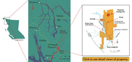 The Tulsequah Chief Mine is northeast from Juneau, just across the border in British Columbia. (Map by Chieftain Metals)