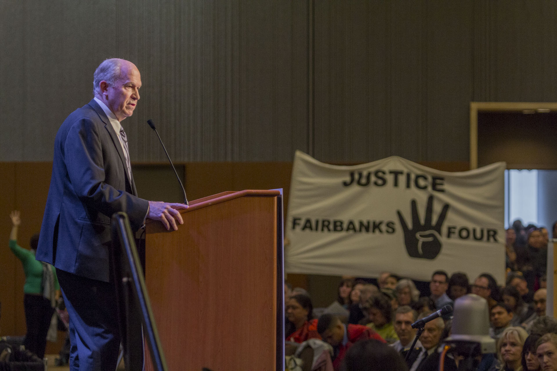 Gov. Bill Walker addresses the 49th annual Alaska Federation of Natives conference in Anchorage. The AFN called on Walker to free the Fairbanks Four. (Photo by Mikko Wilson/KTOO)