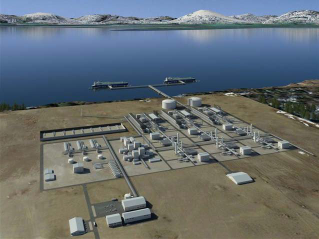 This illustration shows what a liquefaction plant could look like. (Image courtesy of Alaska LNG)