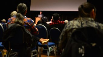 "Lt. Gov. Byron Mallott was one of several Tlingit leaders to give welcoming remarks at ""Sharing Our Knowledge: A Conference of Tlingit Tribes and Clans"" on Thursday morning at Centennial Hall. (Photo courtesy Office of the Lieutenant Governor)"