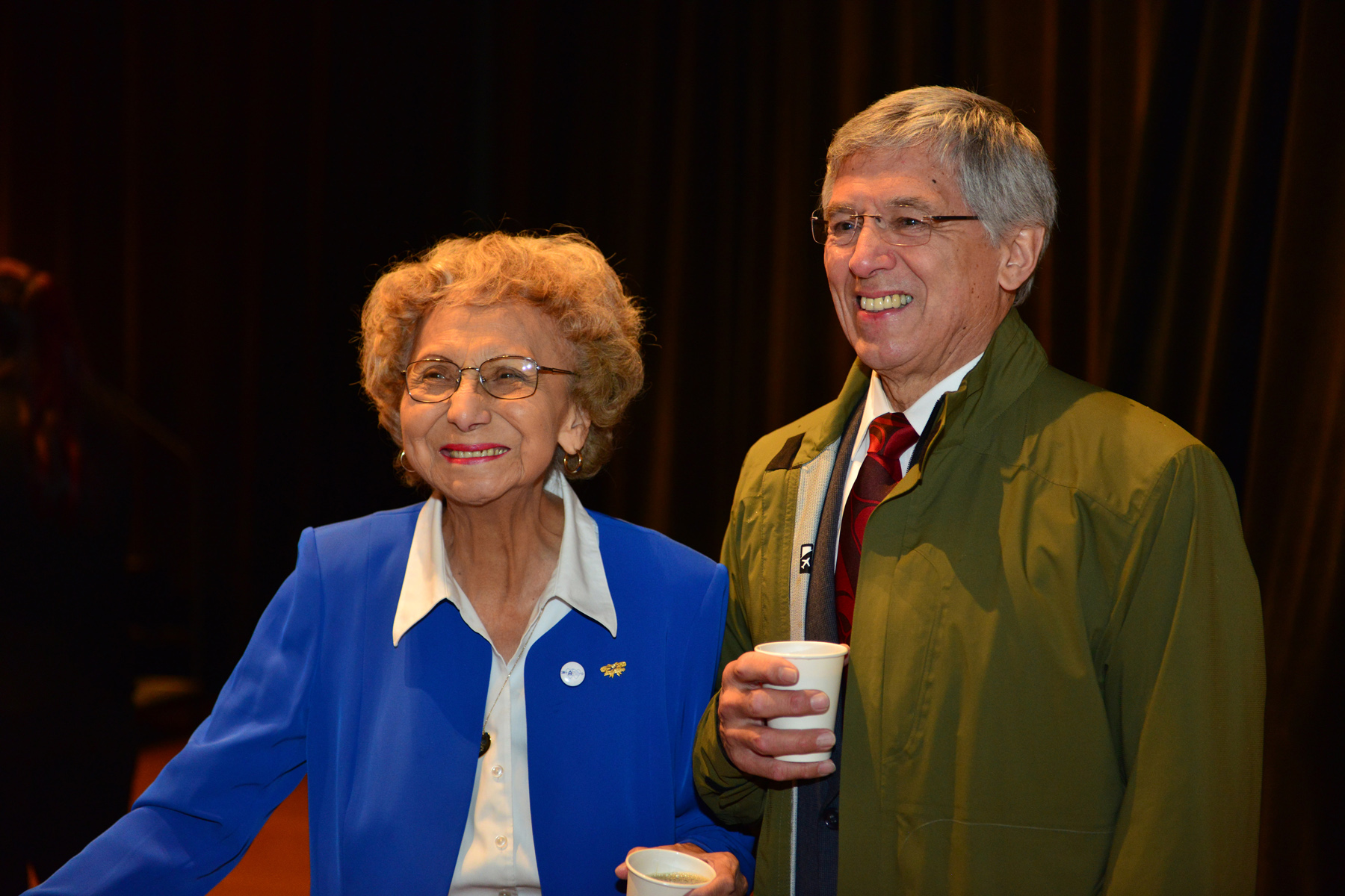 "Selina Everson and Byron Mallott at the opening of ""Sharing Our Knowledge: A Conference of Tlingit Tribes & Clans."" Everson gave the invocation. (Photo courtesy Office of the Lieutenant Governor)"