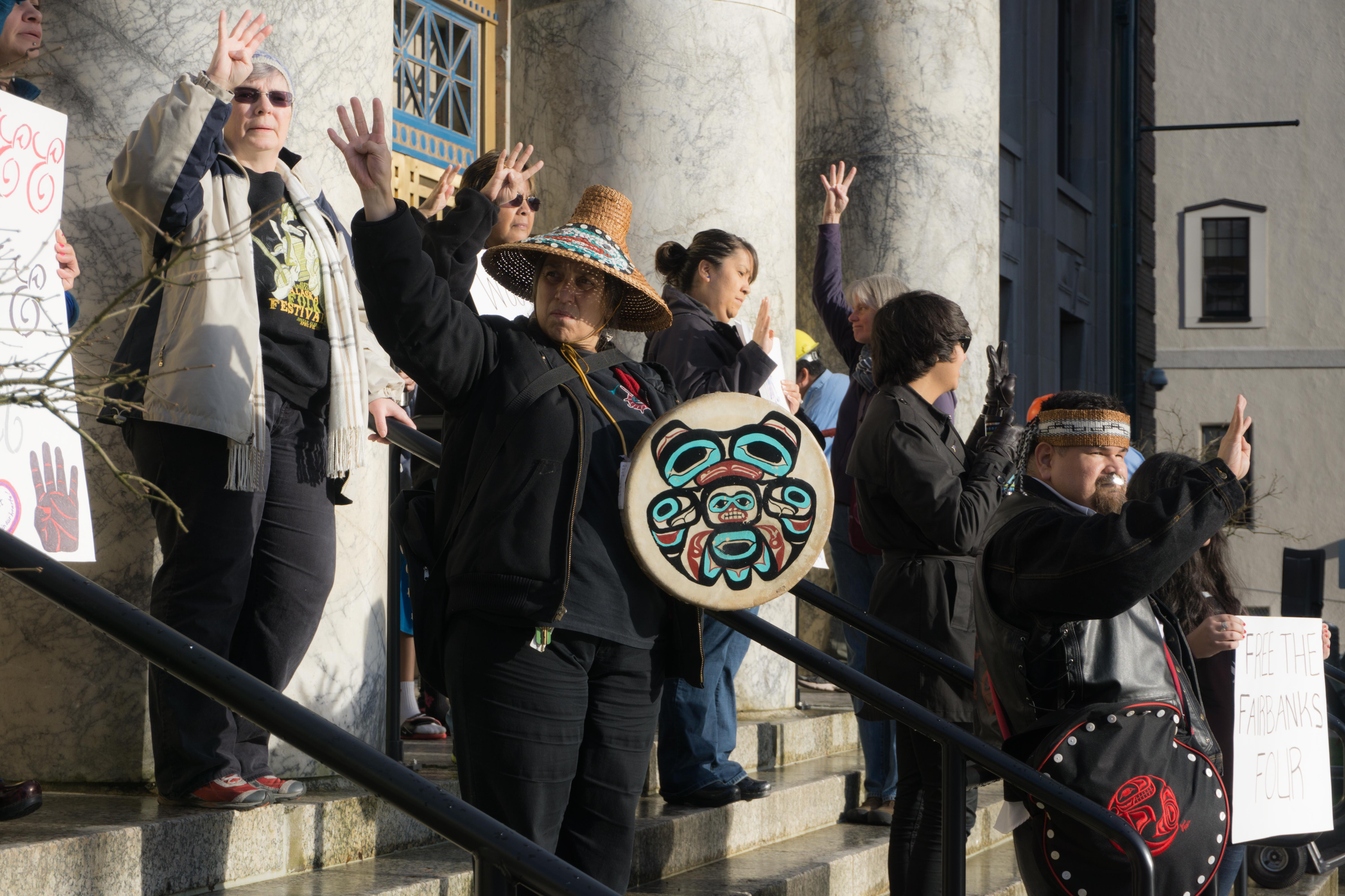 Fairbnaks Four protesters at the Capitol, Oct. 24, 2015. (Photo by Jeremy Hsieh/KTOO)