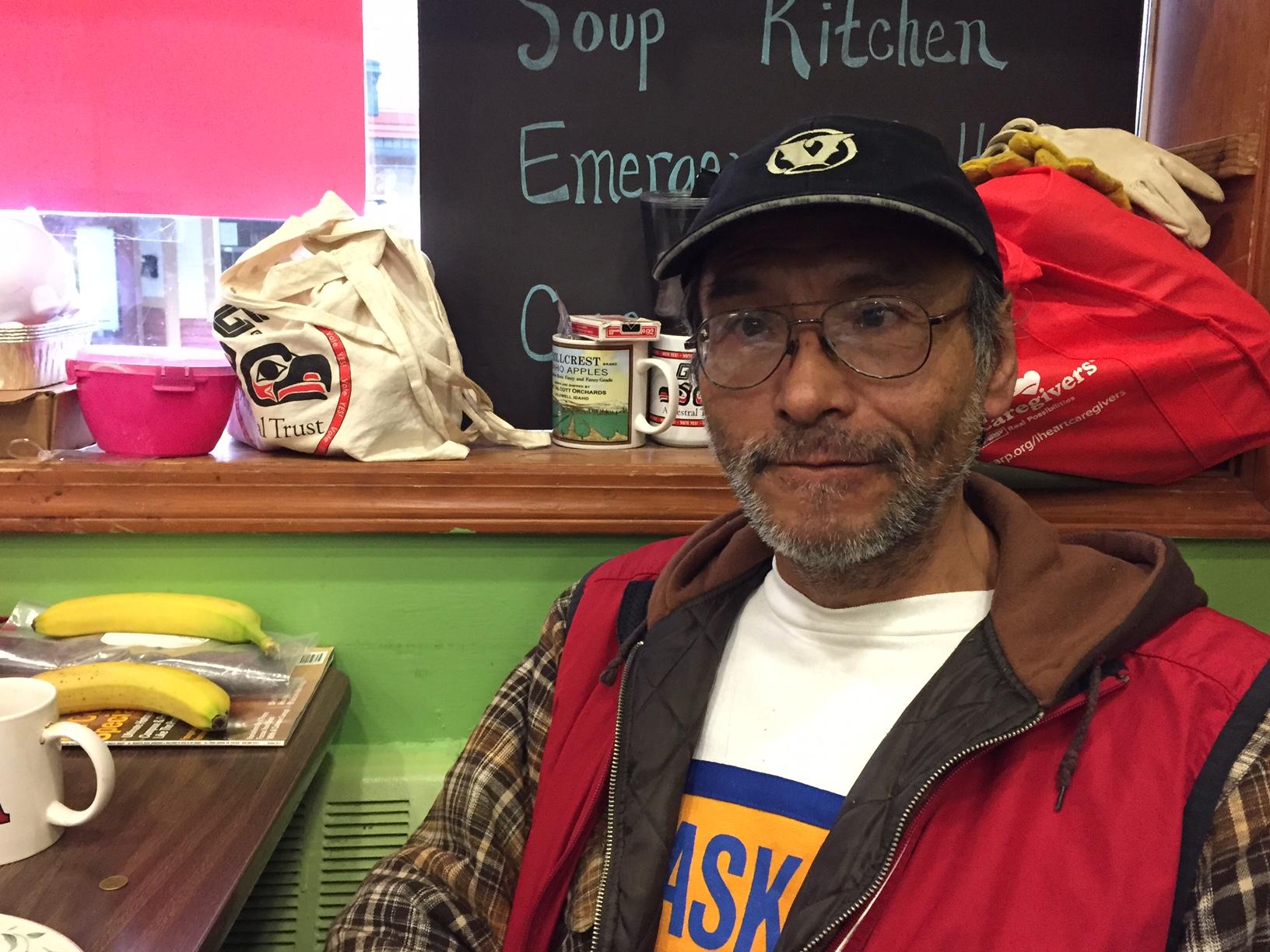 Clyde Didrickson says he's been homeless since 1981. (Photo by Lisa Phu/KTOO)
