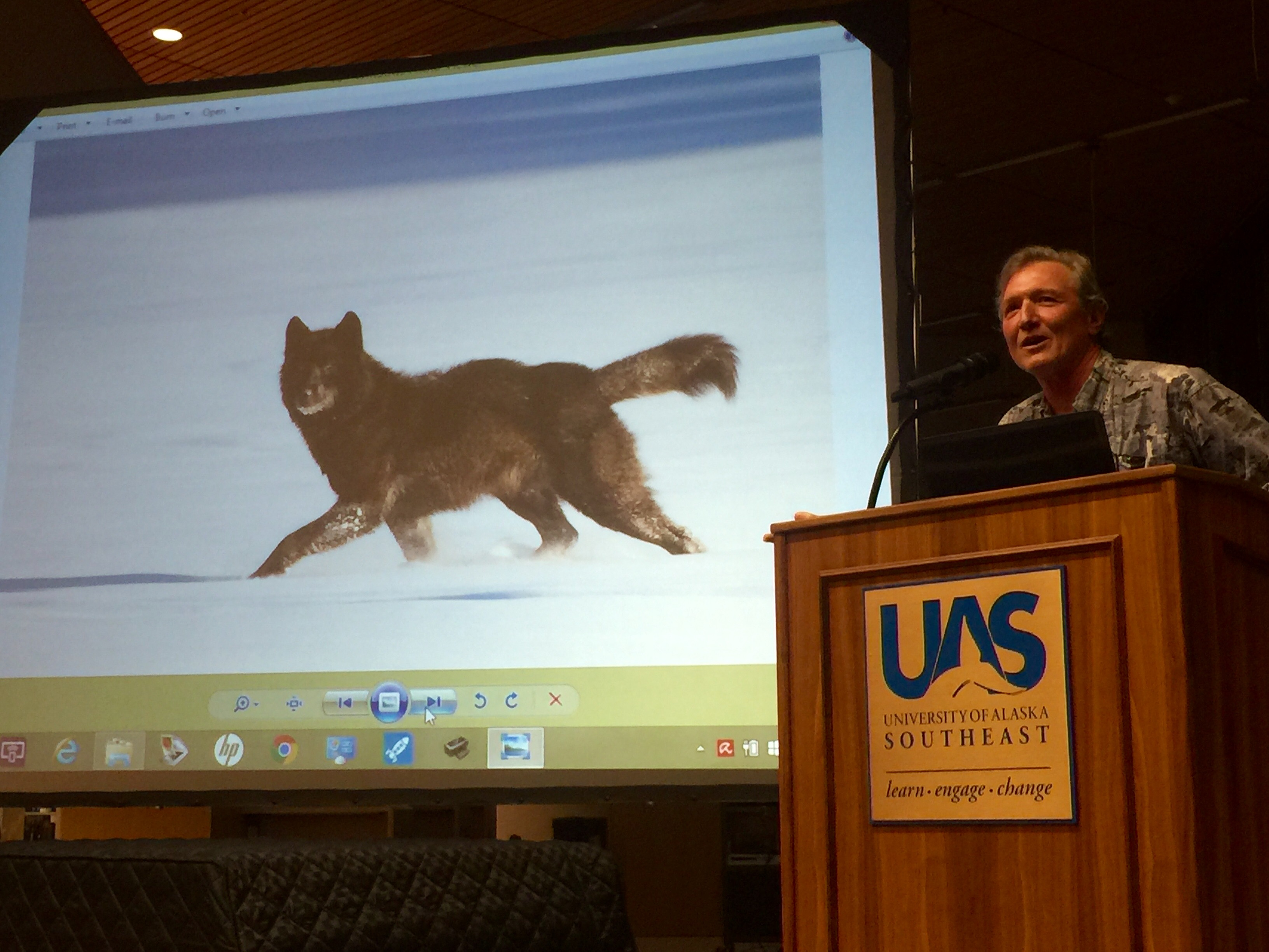 Nick Jans speaks about Romeo the wolf at the Egan Library during the University of Alaska Southeast's Evening at Egan lecture series. (Photo courtesy Katie Bausler/UAS)