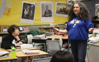 "To get eighth graders to understand Shakespeare's ""Othello,"" Perseverance Theatre's Shona Osterhout has them act it out. (Photo by Lisa Phu/KTOO)"
