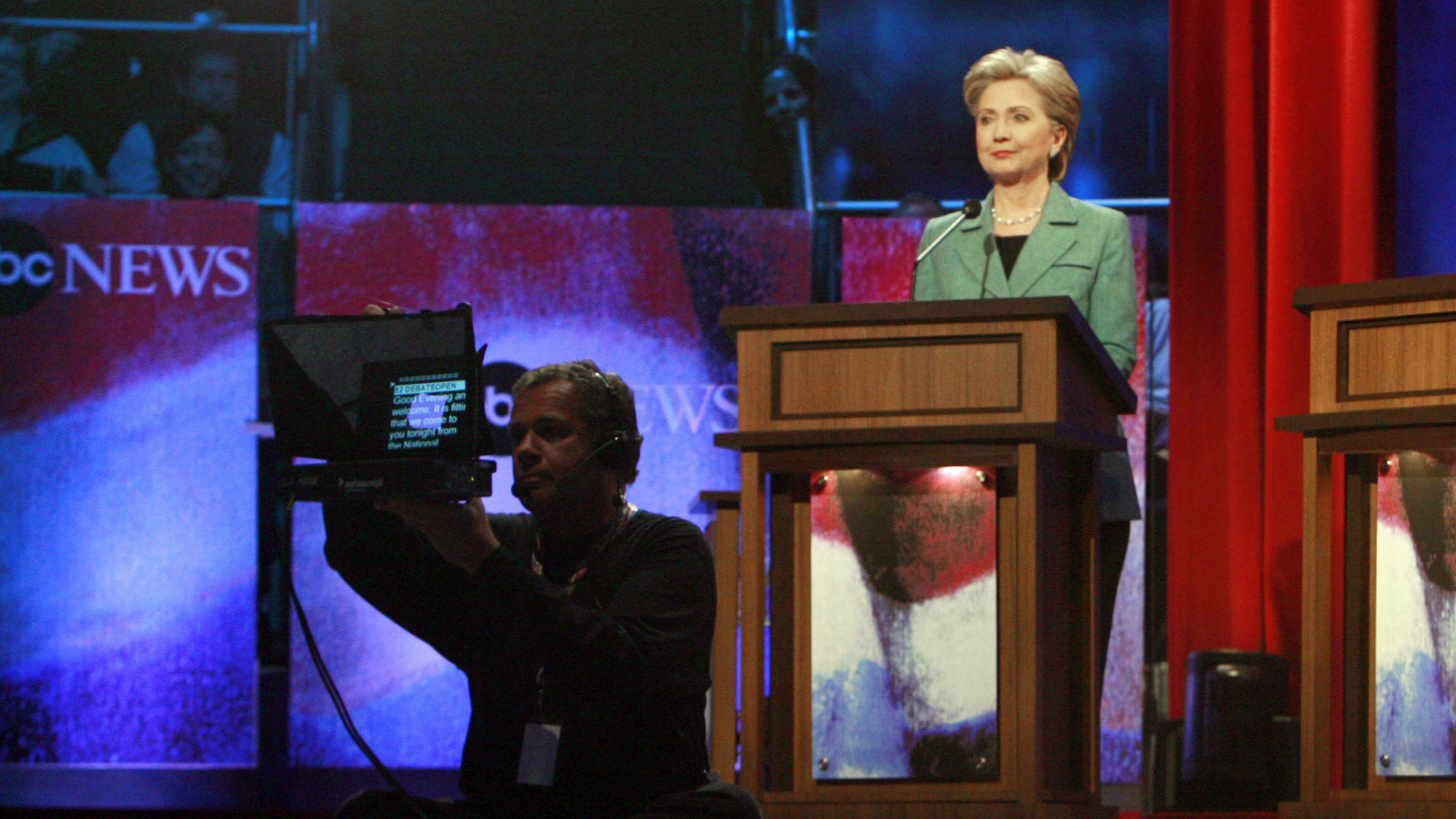 Hillary Clinton participated in 25 primary debates during her 2008 campaign — experience that should serve her well on Tuesday night. But she still has to appear likable and at ease on stage this time. (Photo by Matt Rourke/AP)