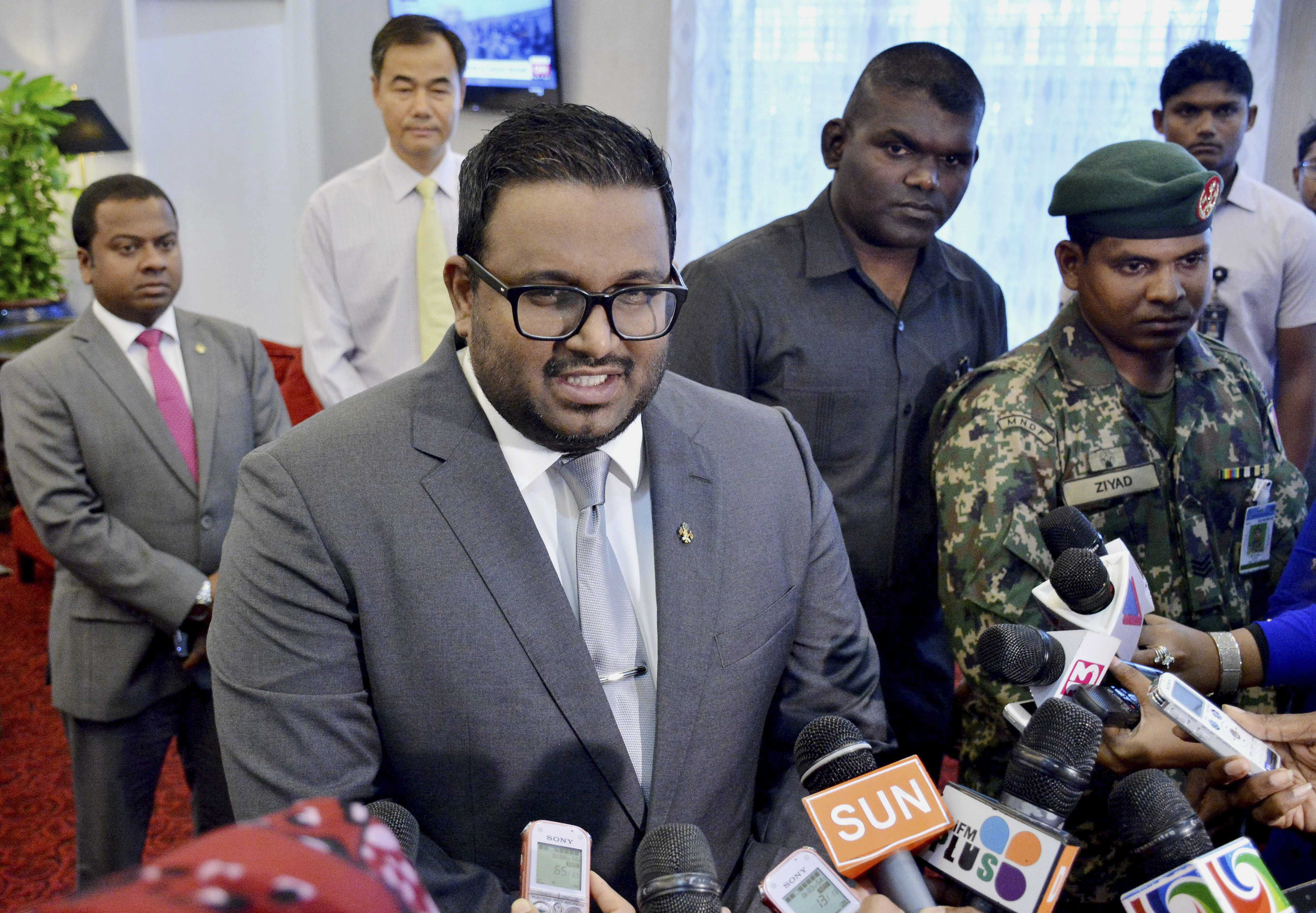 Maldives Vice President Ahmed Adeeb speaks to media earlier this month at the Ibrahim Nasir International Airport, near Male, Maldives. (Photo by Ali Naseer/AP)