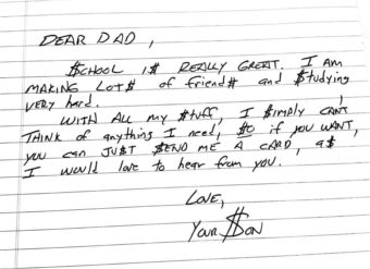 Hand-written letters like this one are read and shown on a screen. (Image courtesy of Letters Aloud)