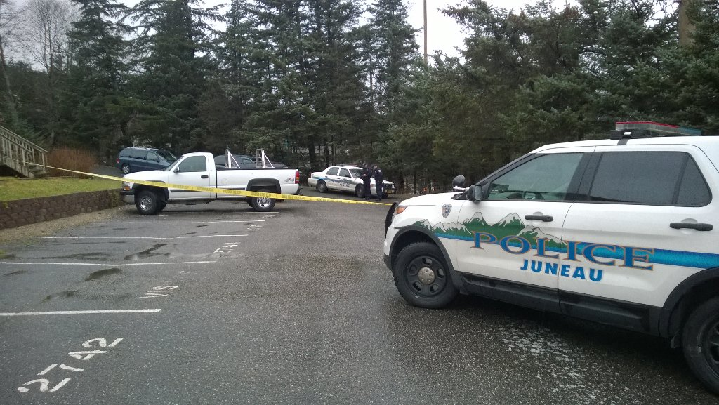 At the scene of the two deaths on Douglas reported Sunday (Photo by Jeremy Hsieh/KTOO)