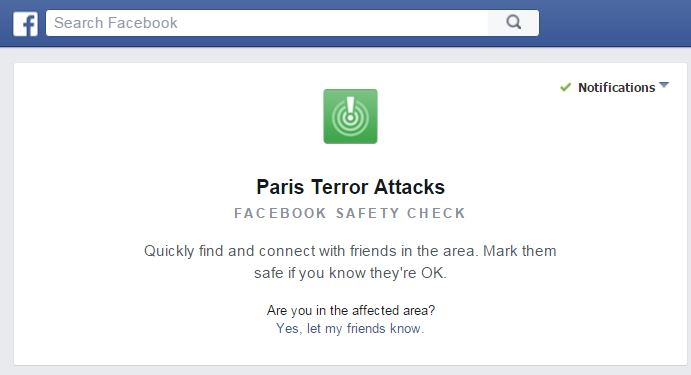 Paris attacks Facebook safety check
