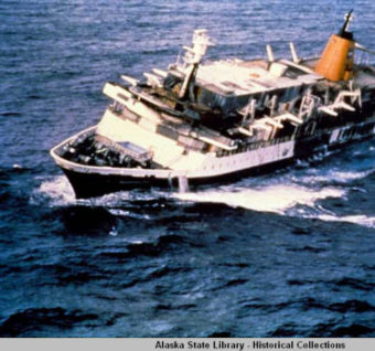 October 4th marked the 35th anniversary of the sinking of the Prinsendam. The cruise ship was abandoned 200 miles off the coast of Alaska due to fire. Over 500 passengers and crew were rescued. (Photo courtesy of the Alaska State Library