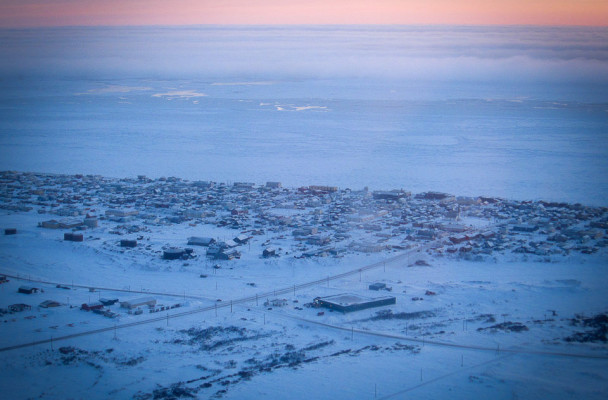 Winter sea ice locking in Nome for the winter. (Photo by Laura Collins/KNOM)