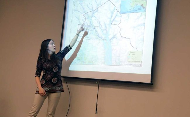 Allyson Olds points to the area where she focused her research on hooligan run times. (Photo by Jennifer Canfield/KTOO)