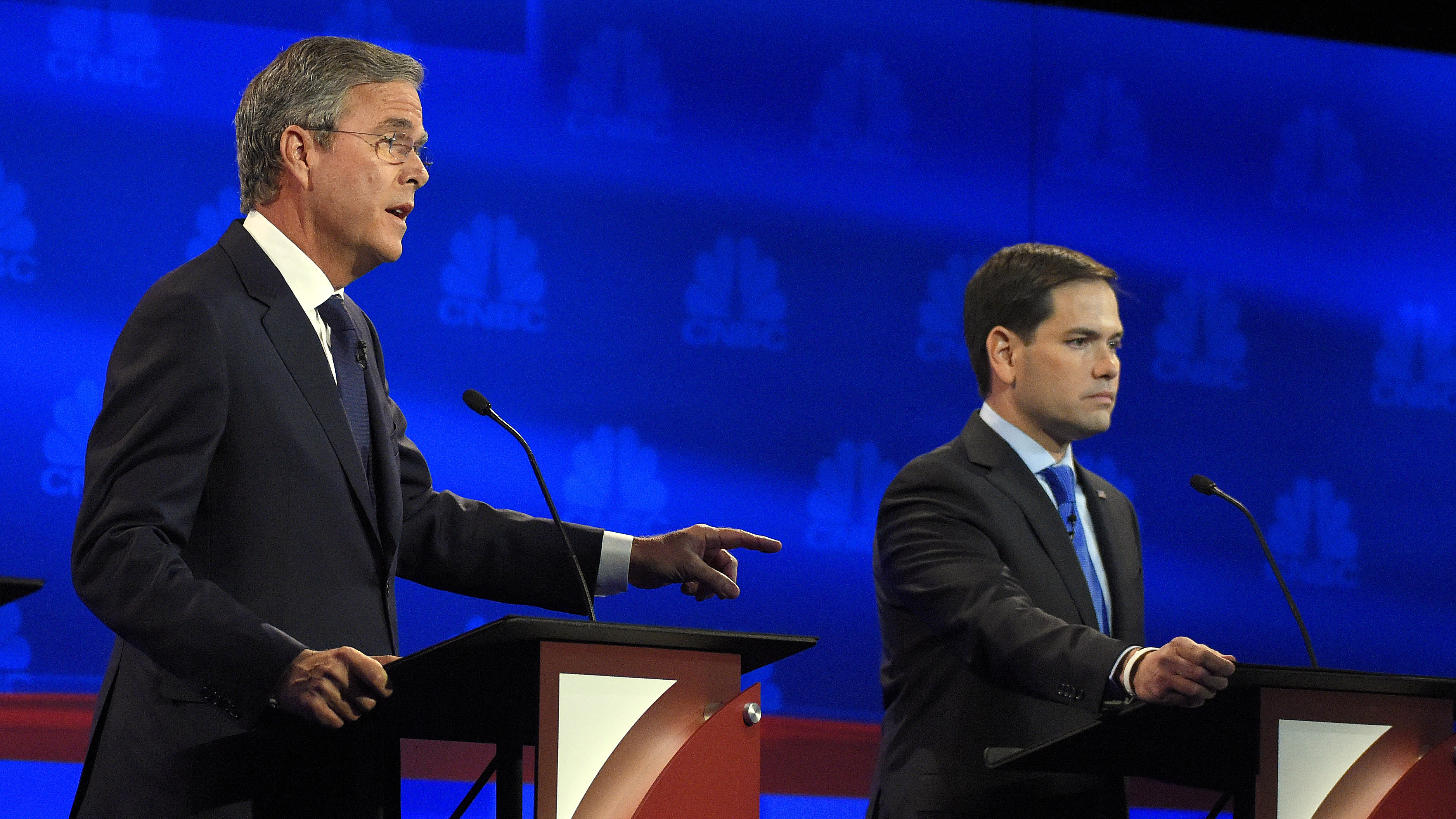 Jeb Bush (left) and Marco Rubio at the CNBC Republican presidential debate Wednesday. Their battling of late is leaving some Florida Republicans with an uncomfortable choice. (Photo by Mark J. Terrill/AP)