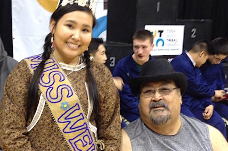 Big Bob Aiken and Miss WEIO 2014 Chanda Simon. (Photo courtesy of Miss World Eskimo Indian Olympics)