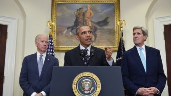 President Obama, flanked by Secretary of State John Kerry (right) and Vice President Joe Biden, announced the Keystone XL pipeline decision Friday in the Roosevelt Room of the White House. Mandel Ngan/AFP/Getty Images