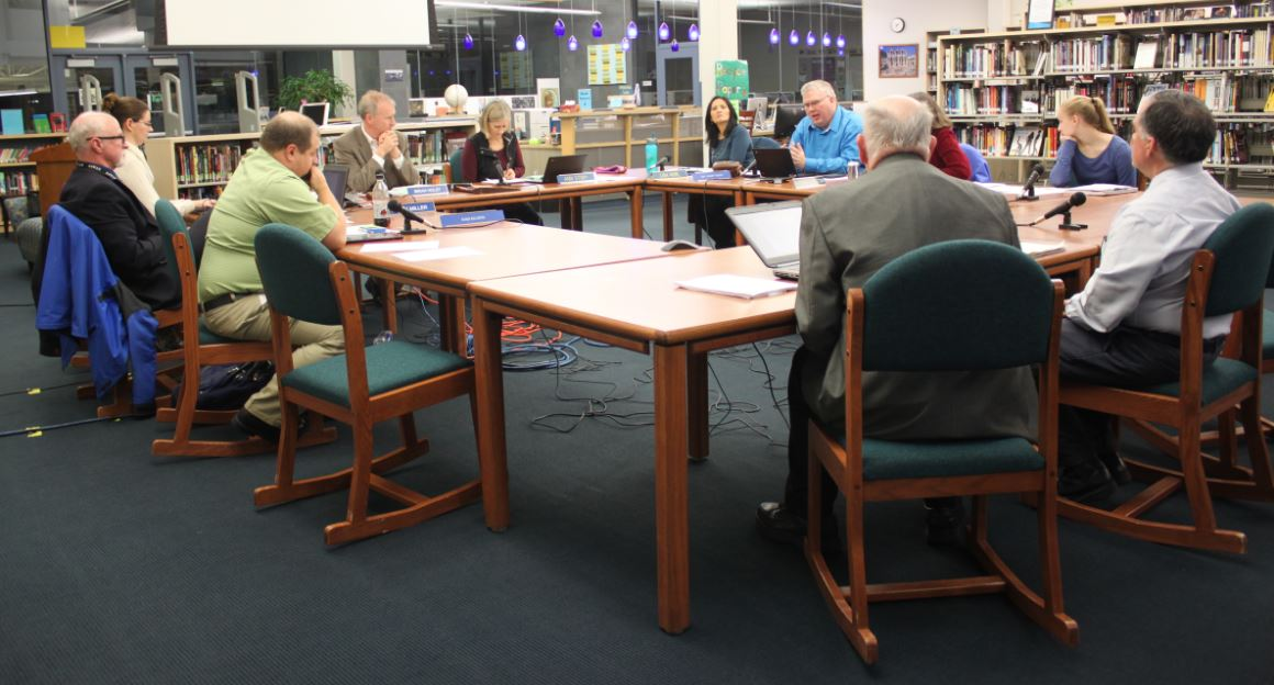 The Juneau School Board during its regular meeting on Nov. 10, 2015. (Photo by Lisa Phu/KTOO)