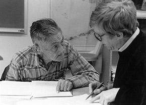 Dena'ina elder Peter Kalifornsky and anthropologist Dr. Alan Boaraas. (Photo courtesy of the University of Alaska Anchorage)