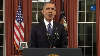 Video still of President Barack Obama's Oval Office Address - Dec. 6, 2015