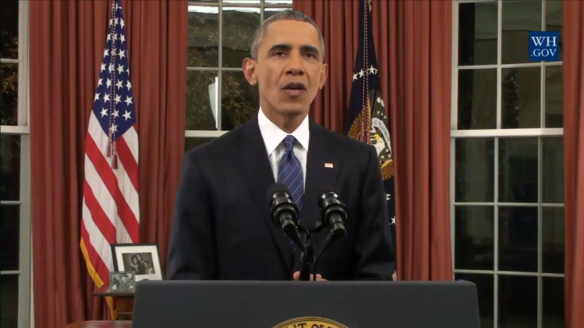 Video still of President Barack Obama's Oval Office Address - Dec. 6, 2015