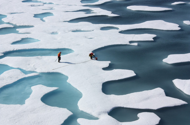 """On July 12, 2011, crew from the U.S. Coast Guard Cutter Healy retrieved a canister dropped by parachute from a C-130, which brought supplies for some mid-mission fixes. The ICESCAPE mission, or """"Impacts of Climate on Ecosystems and Chemistry of the Arctic Pacific Environment,"""" is a NASA shipborne investigation to study how changing conditions in the Arctic affect the ocean's chemistry and ecosystems. The bulk of the research took place in the Beaufort and Chukchi seas in summer 2010 and 2011. (photo by Kathryn Hansen/NASA)"""