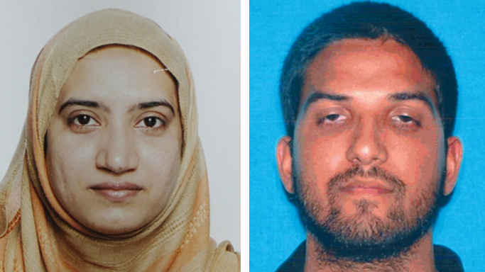 Tashfeen Malik, left, and Syed Farook, who killed 14 people in San Bernardino, Calif., are being called supporters and martyrs by ISIS. The wife and husband team are seen here in photos provided by the FBI, left, and the California Department of Motor Vehicles.