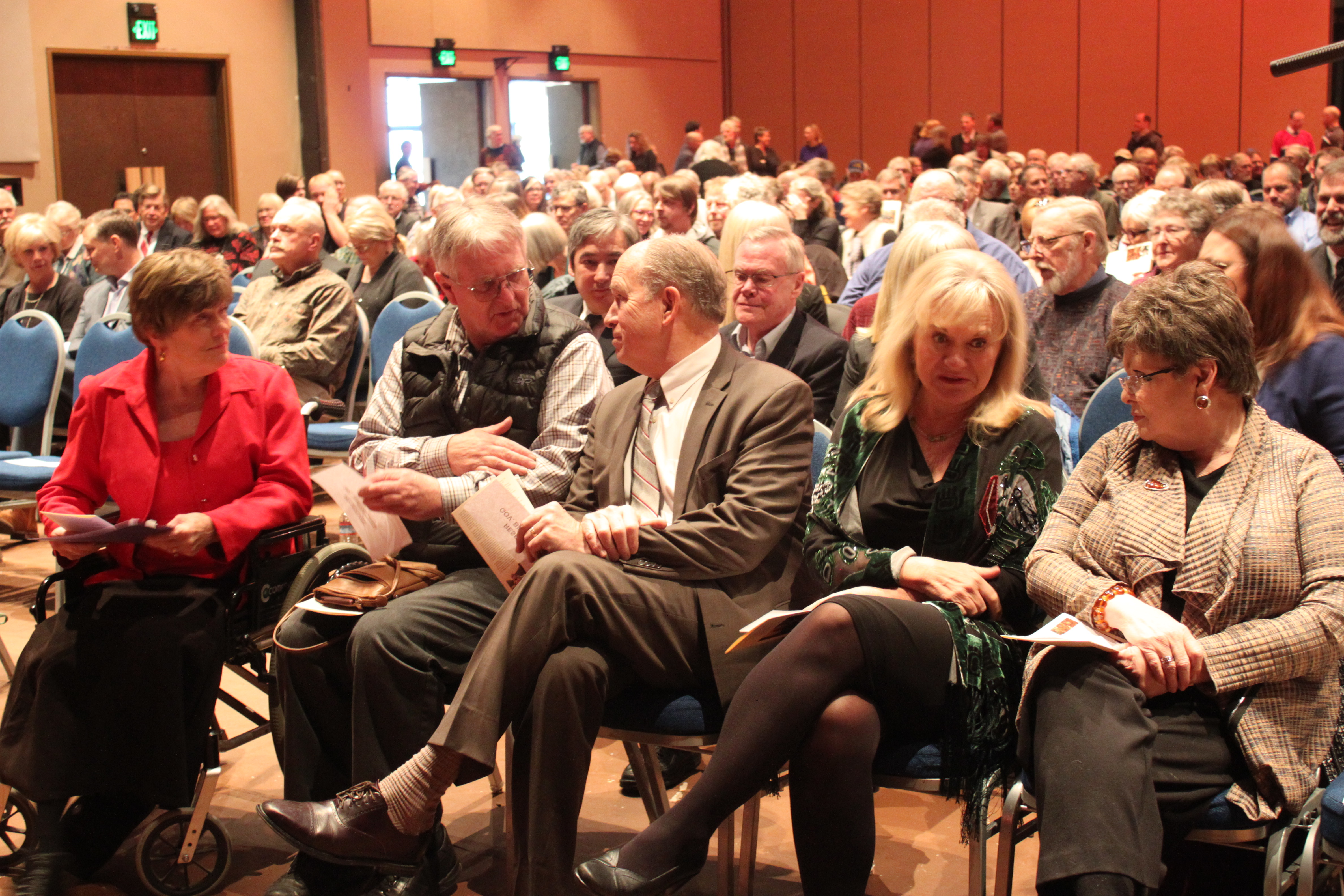 Around 400 people attended the celebration of life for Mayor Greg Fisk, including Gov. Bill Walker, First Lady Donna Walker, Juneau state lawmakers and Juneau Assembly members. (Photo by Lisa Phu/KTOO)