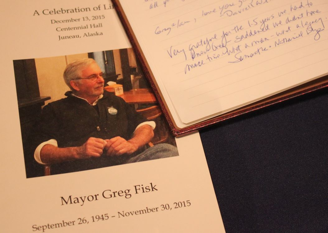 Many signed the guest book at the celebration of life for Greg Fisk. (Photo by Lisa Phu/KTOO)