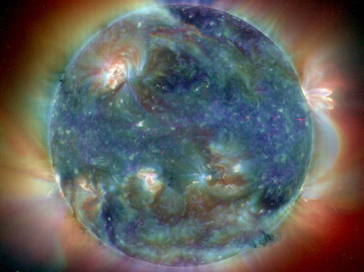 In this composite image, the sun has reached its northernmost point in Earth's sky, marking a season change and the first solstice of the year 2004. NASA/ESA