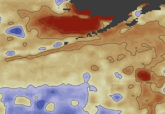 Sea surface temperatures July 2014
